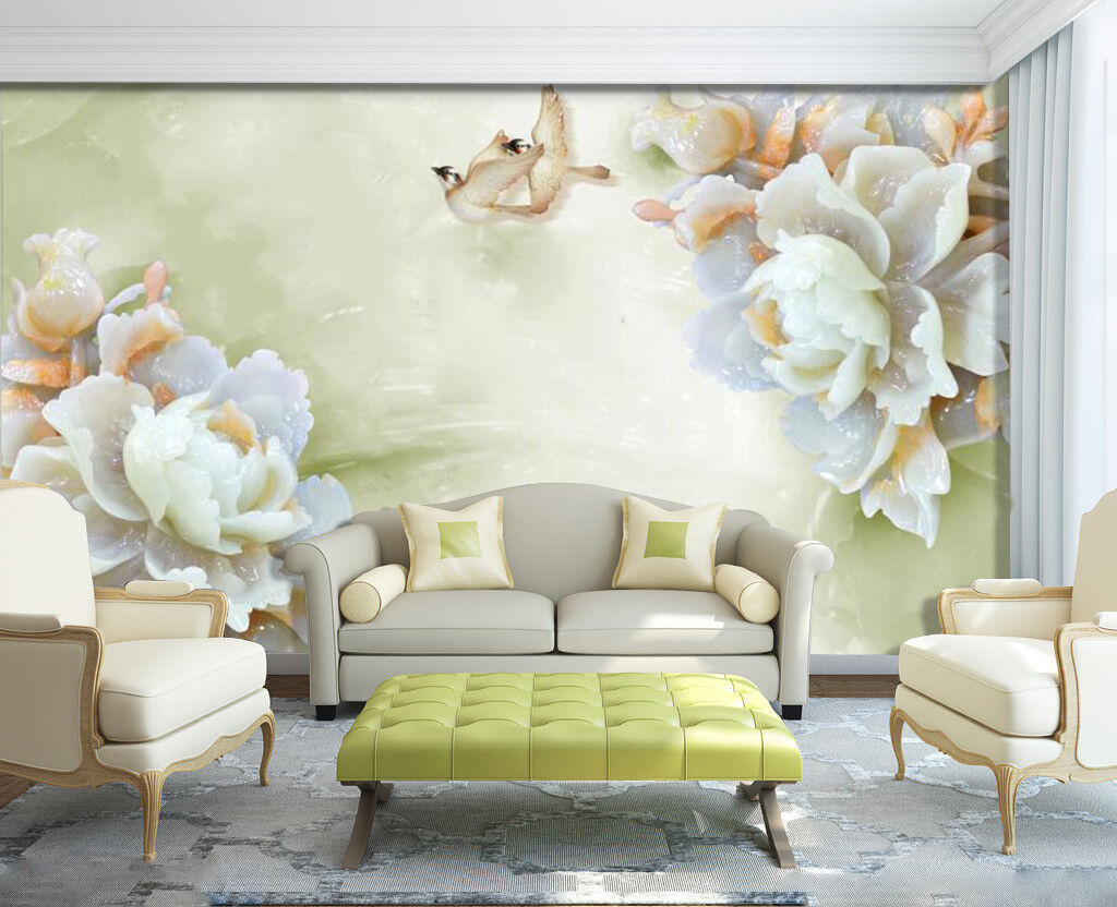 3D Jade flower 3422 Wall Paper Wall Print Decal Wall Deco Indoor Wall Murals