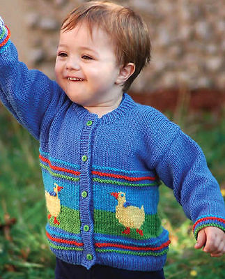 "Baby/Toddler Cardigan Duck Motif Aran  26"" - 31""  Knitting Pattern"