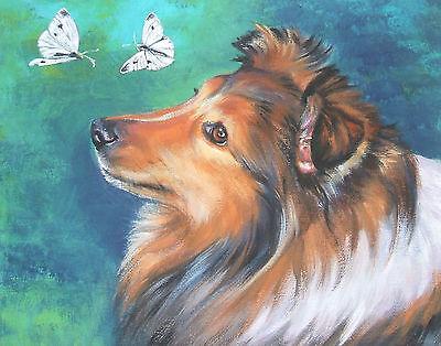 "Shetland Sheepdog sheltie dog art Canvas PRINT of LAShepard painting 11x14"""