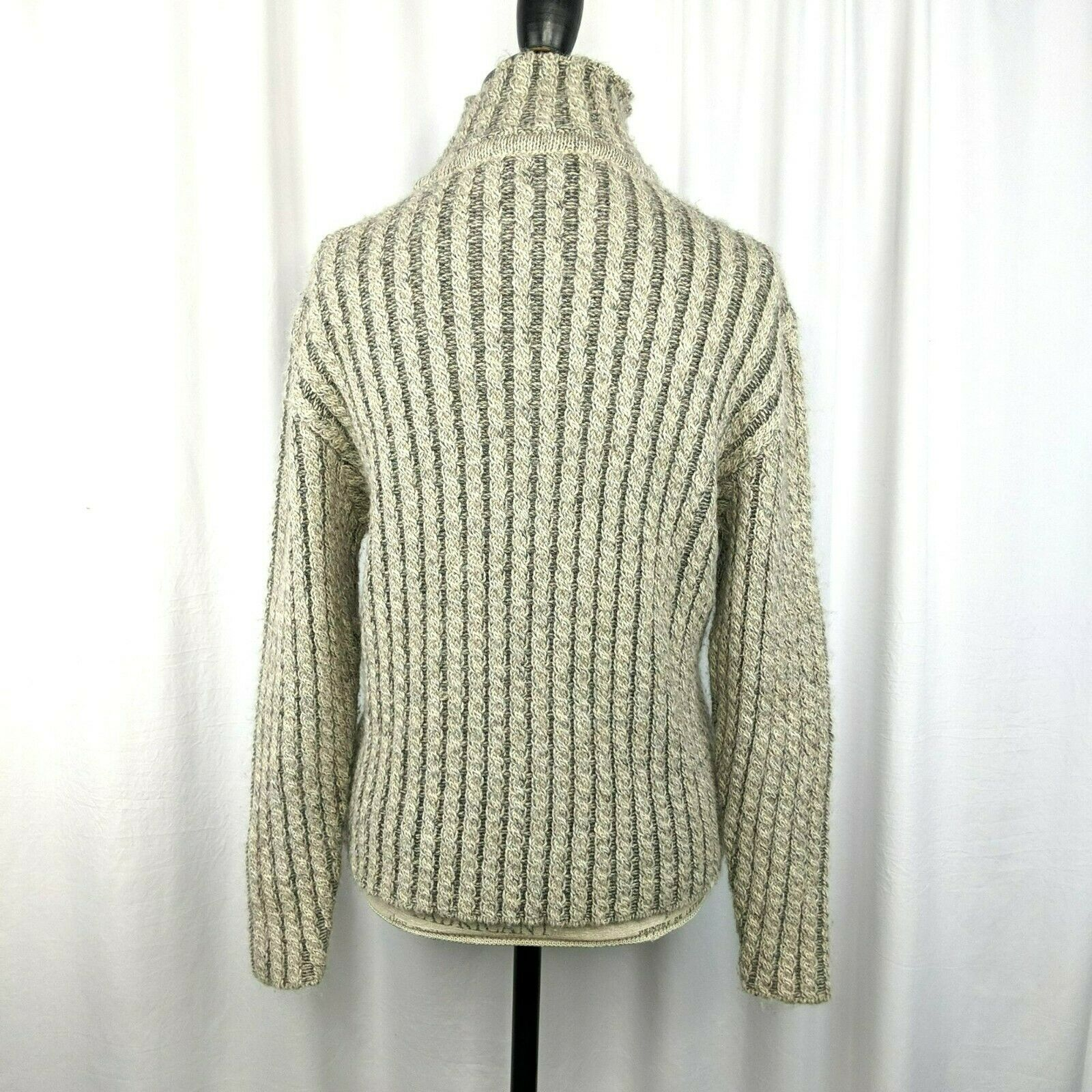 Inis Meain Gray Beige Alpaca Cable Knit Sweater S… - image 5