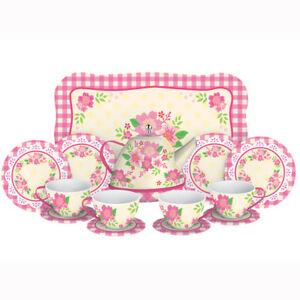 Fancy-Tin-Tea-Set-Toys-15-Pieces-Kitchen-Play-Preschool-Dishes-Brand-New-FNTS