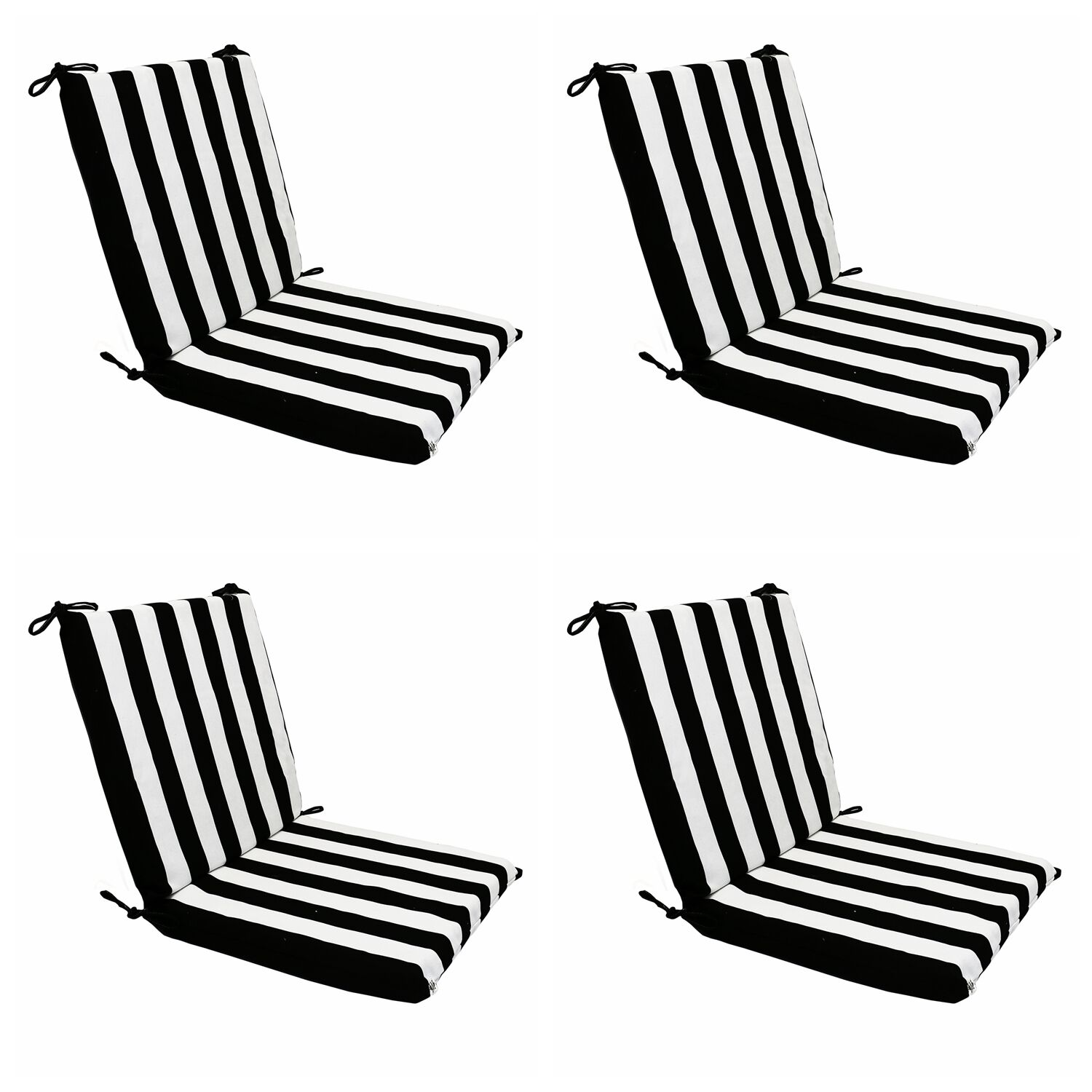 Black stripes patio lounge chaise dining chair foam for Black and white striped chaise lounge cushions