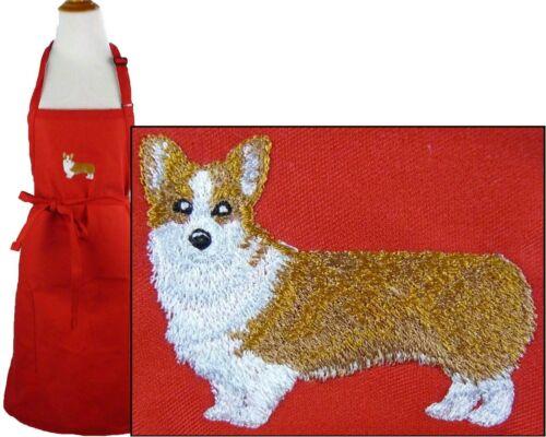 Pembroke Welsh Corgi Monogram Apron Red Adj Adult Large Puppy Dog Pet Groom Gift