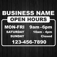 Business Name Hours Tel Store Open Hours Decal Sticker Window Door Sign