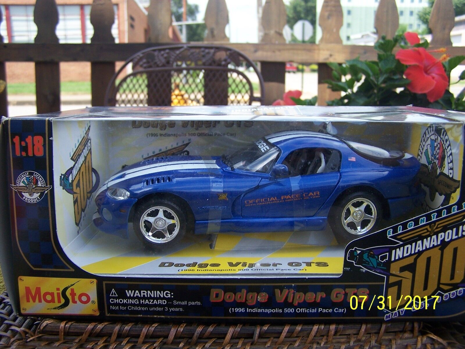 DODGE VIPER GTS CAR 1 18 SCALE DIE-CAST MAISTO 1996 INDIANAPOLIS 500 PACE CAR
