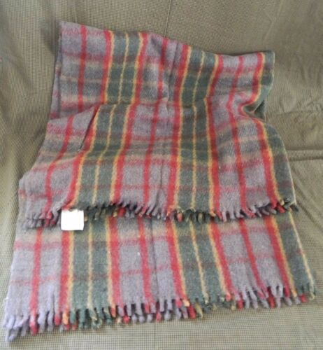 VINTAGE WOOL BLANKET NEVER USED GRAY RED & GREEN PLAID