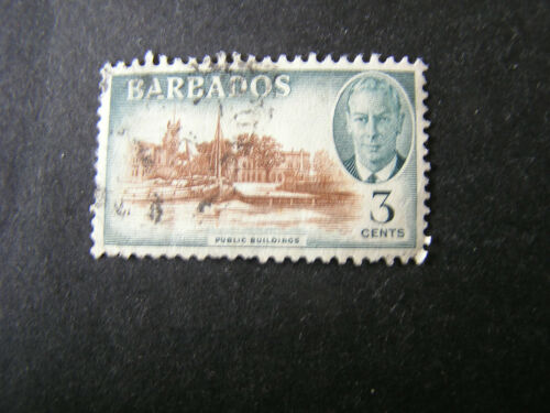 BARBADOS, SCOTT # 218, 3c. VALUE SLATE & BROWN KGV1 1950 ISSUE USED