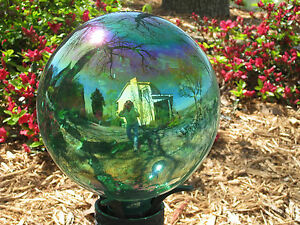 Gazing Ball Handblown Glass Globe Teal Iridescent Purple