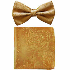 New formal men's pre tied Bow tie & hankie set paisley pattern gold wedding