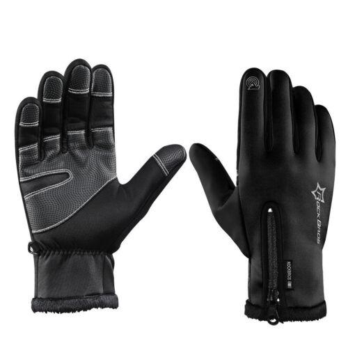 RockBros Cycling Fleece Thermal Windproof Outdoor Sport Full Finger Gloves Black