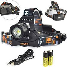 Zoom 4000LM XML L2 LED Headlamp 18650 Headlight 5mode Head Torch Lamp+USB Charge