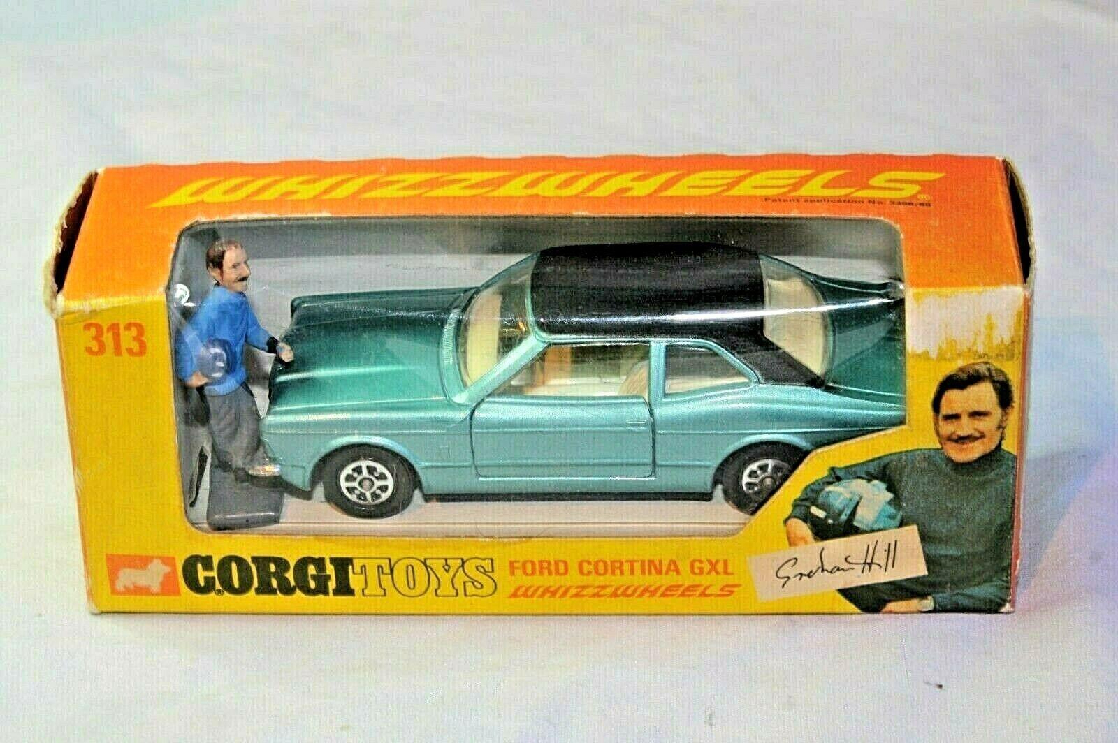 CORGI  313 Ford Cortina GXL, menthe avec figurine dans boîte d'origine, Imprimer Erreur sur boîte