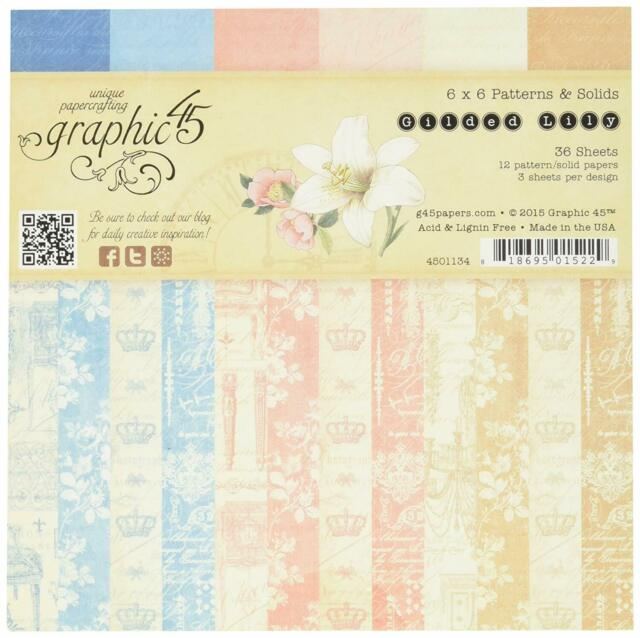 Graphic45 2 sheets, Gilded Lily collection 6 X 6 PAPER PADS