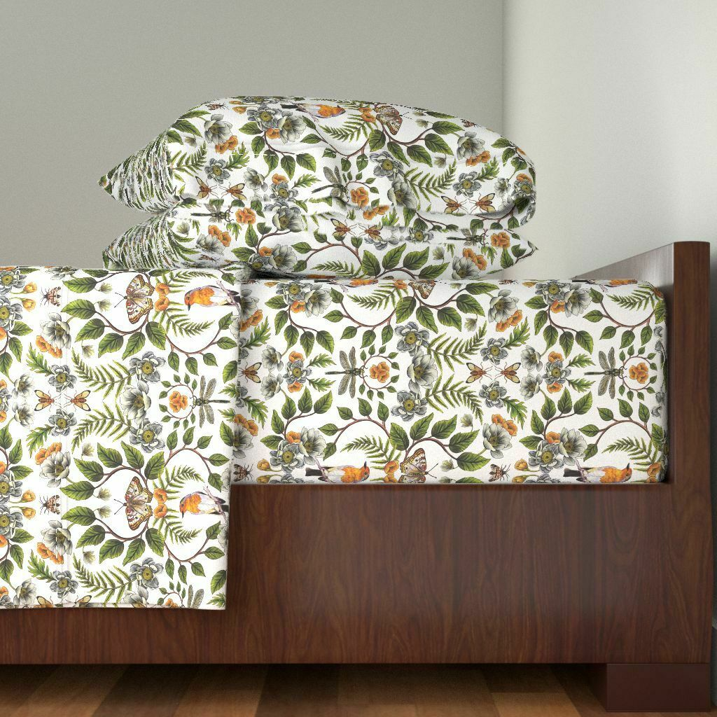 Floral Flower Flowers Dragonfly 100% Cotton Sateen Sheet Set by Roostery