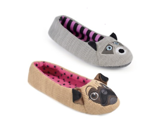 Womens Animal Slippers Ballerina Pug Bally Girls Ladies UK Size 3 4 5 6 7 8