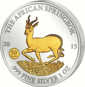 Gabun-2015-Springbock-1000F-Silver-Investment-Privy-Mark-1oz-Silber-24K-gilded