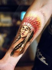 Einmal Tattoo Body Tattoo Indian Women Warrior 19x12cm Medium wasserfest(AX86)