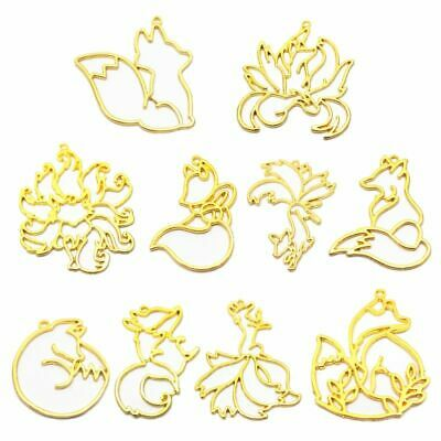 8Pcs Gold Animal Fox Pendant Open Bezel Setting UV Resin Frame Jewelry Making