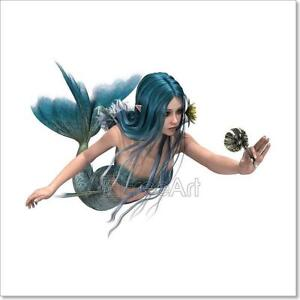 Image Is Loading Blue Mermaid Holding Sea Lily Art Print Home