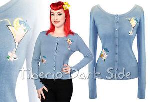 Banned-Coctel-Azul-Tiki-Fiesta-Pin-Up-Retro-Rockabilly-Vintage-Mujer-Cardigan