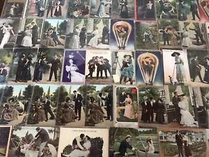 Big Lot of 84~Romance Romantic~Vintage Antique~Postcards-Men Ladies-People--g286