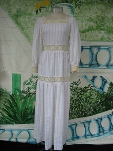 VTG Maxi Dress Wedding Prom  Lace Insets Original