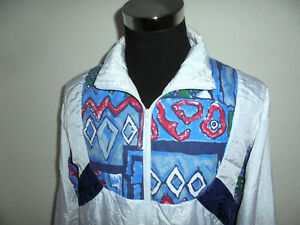 vintage-90s-Nylon-Jacke-glanz-sports-shiny-weiss-Trainingsjacke-oldschool-M-L