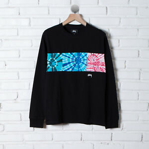 S Graphics Tie Xl Logo Tee nere Block Stussy lunghe M Dye Maniche L Streetwear Yvg5q