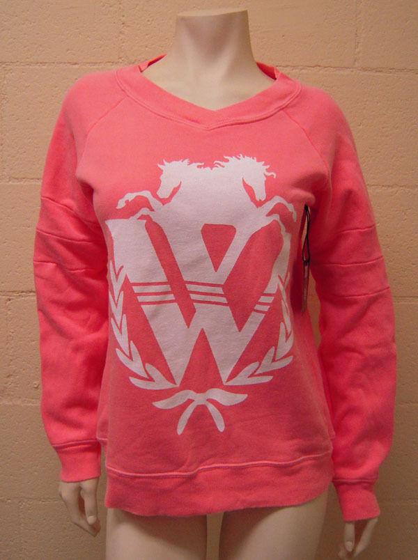 NEW WILDFOX Logo Gidget Sweatshirt in Neon Coral SMALL