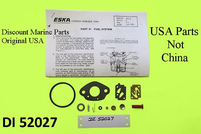 DI 52027 Eska Sears Ted Williams Tecumseh Outboard Motor Carb Kit 1961-1987