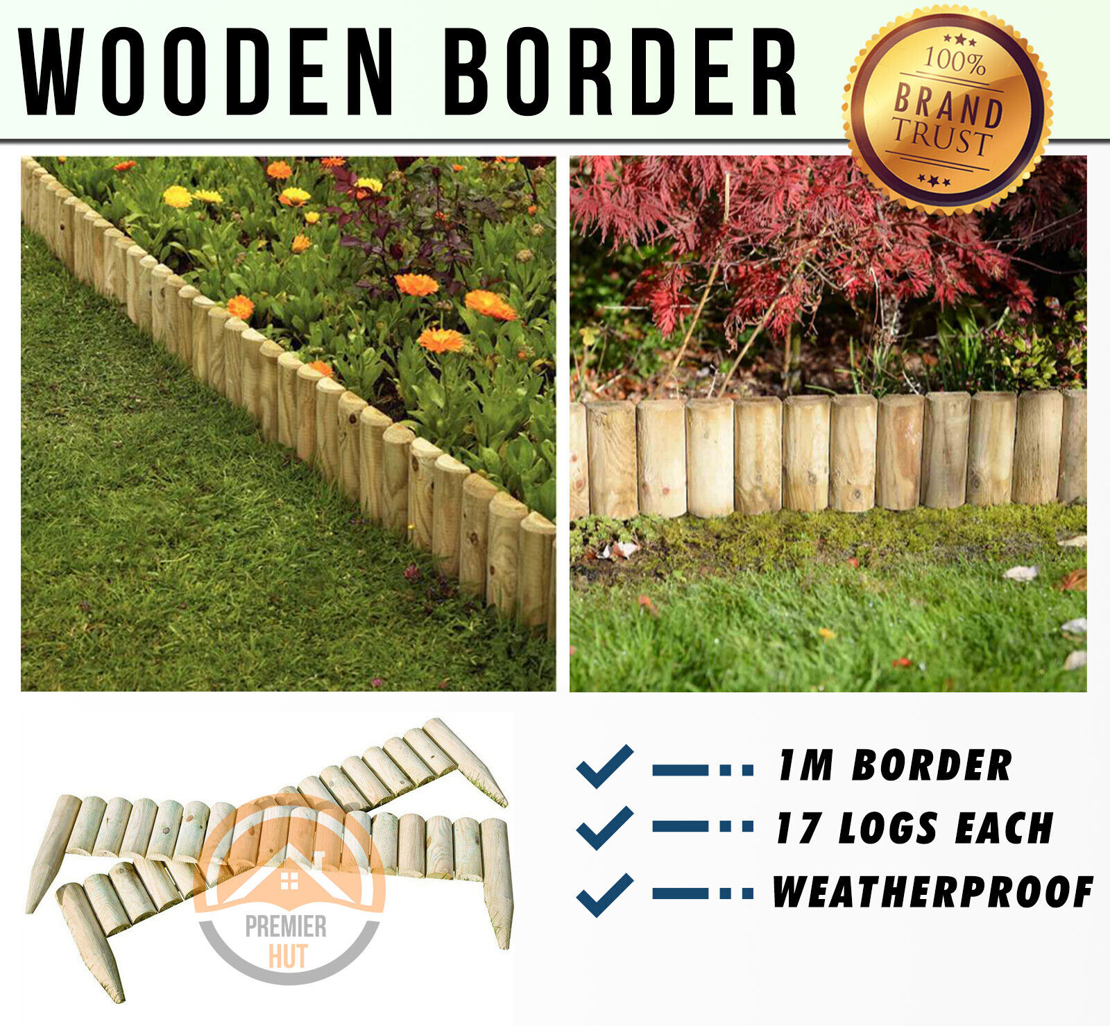 Garden Edging Products Roll Log Wooden Border Edge Landscaping