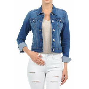 Women-039-s-Plus-Size-Cropped-Denim-Jackets-Long-Sleeve-Jean-Coats