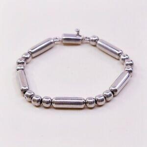 7-5mm-Vtg-Mexico-Sterling-925-Silver-Handmade-Ball-Bead-Bracelet