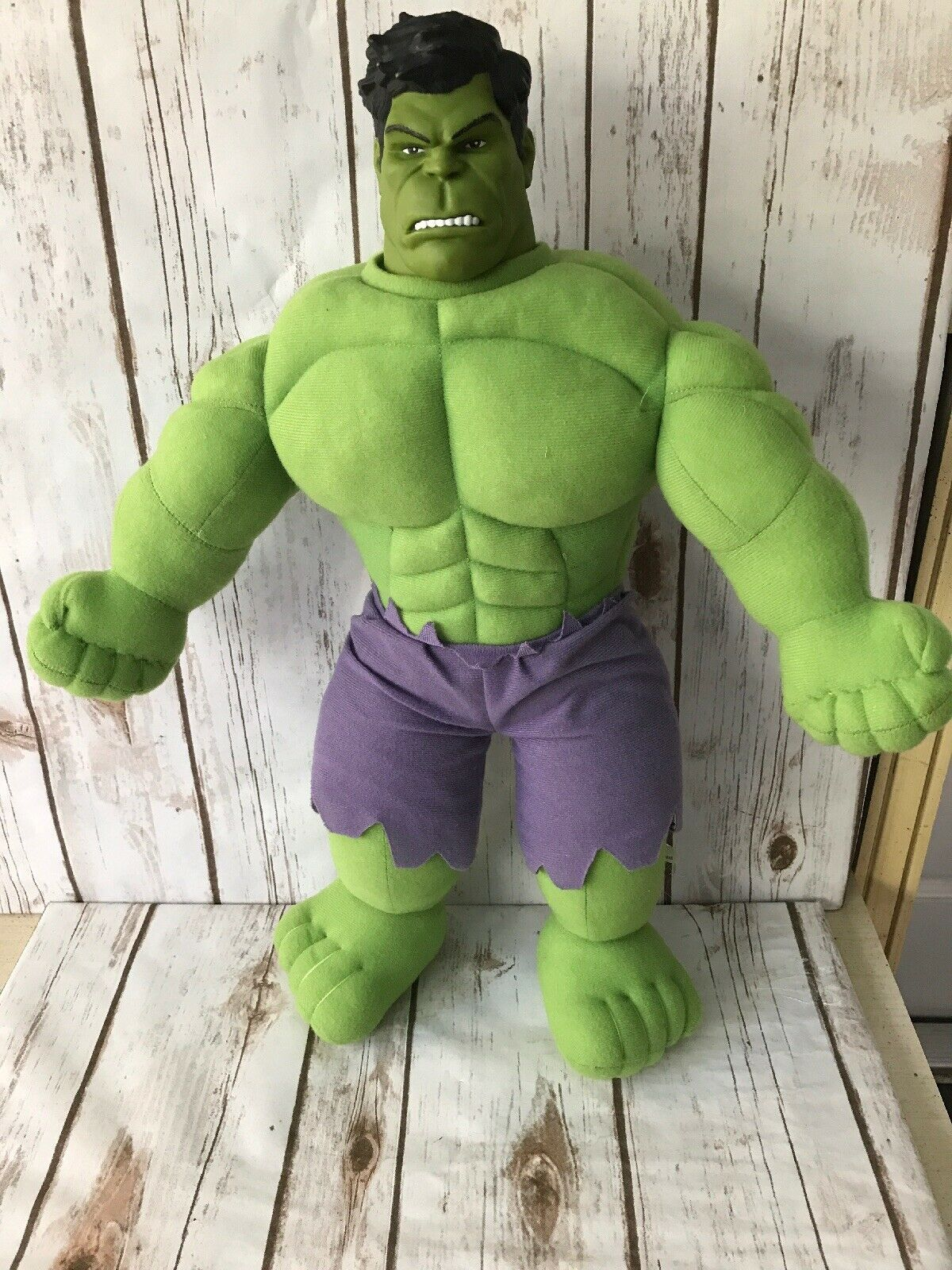 Vintage Marvel Incredible Hulk large 21  plush toy w  vinyl head realistic EUC