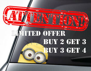 MINION Car Decal Sticker VanBumperWindow Vinyl Decal Sticker DUB - Minion custom vinyl decals for car
