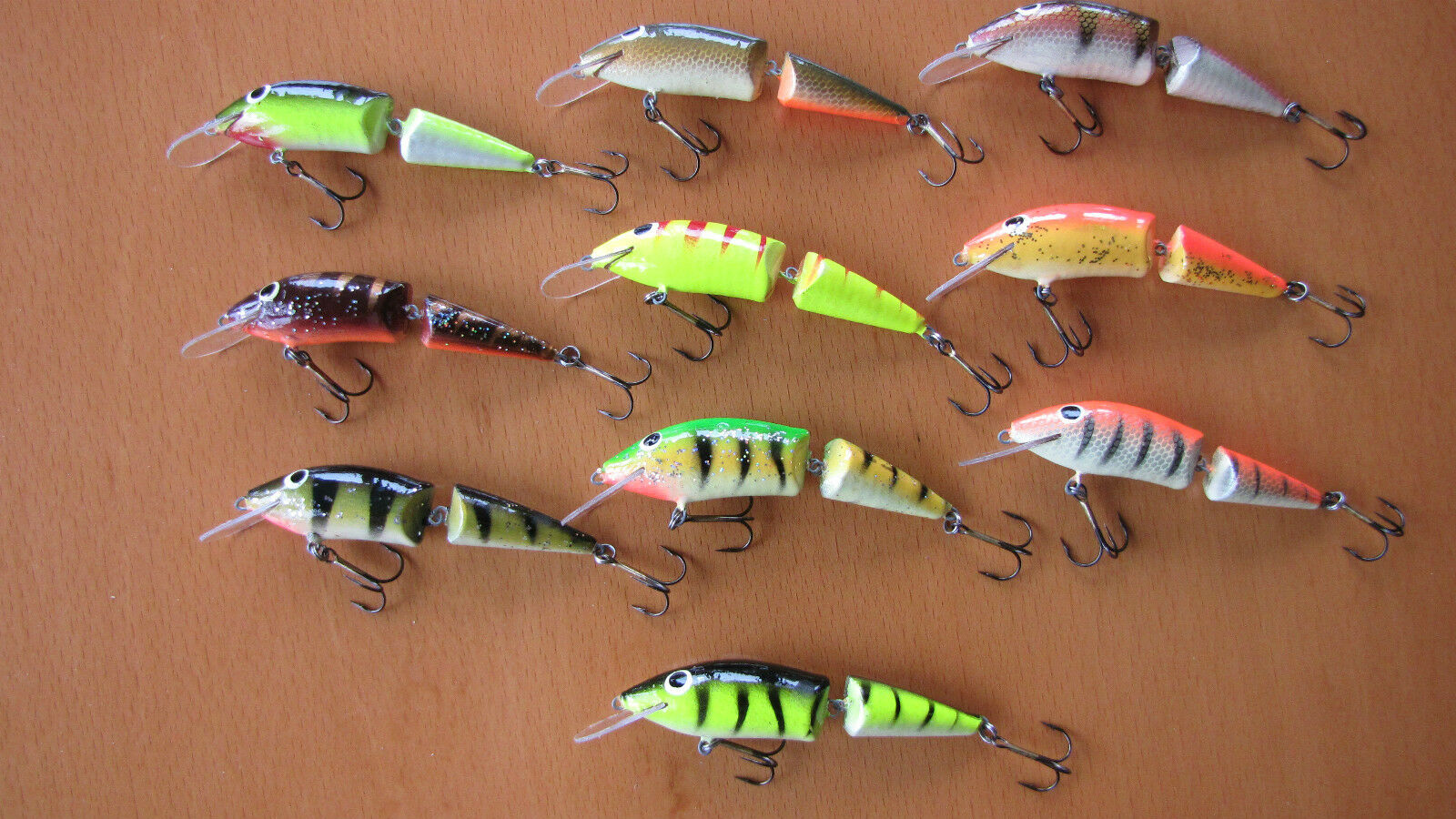 10 x LURE Gold Gold Gold ASSAN WOBBLER JOINTED-G 8,5cm 8,0g FLOATING HAND JOB made of wood dd7c64