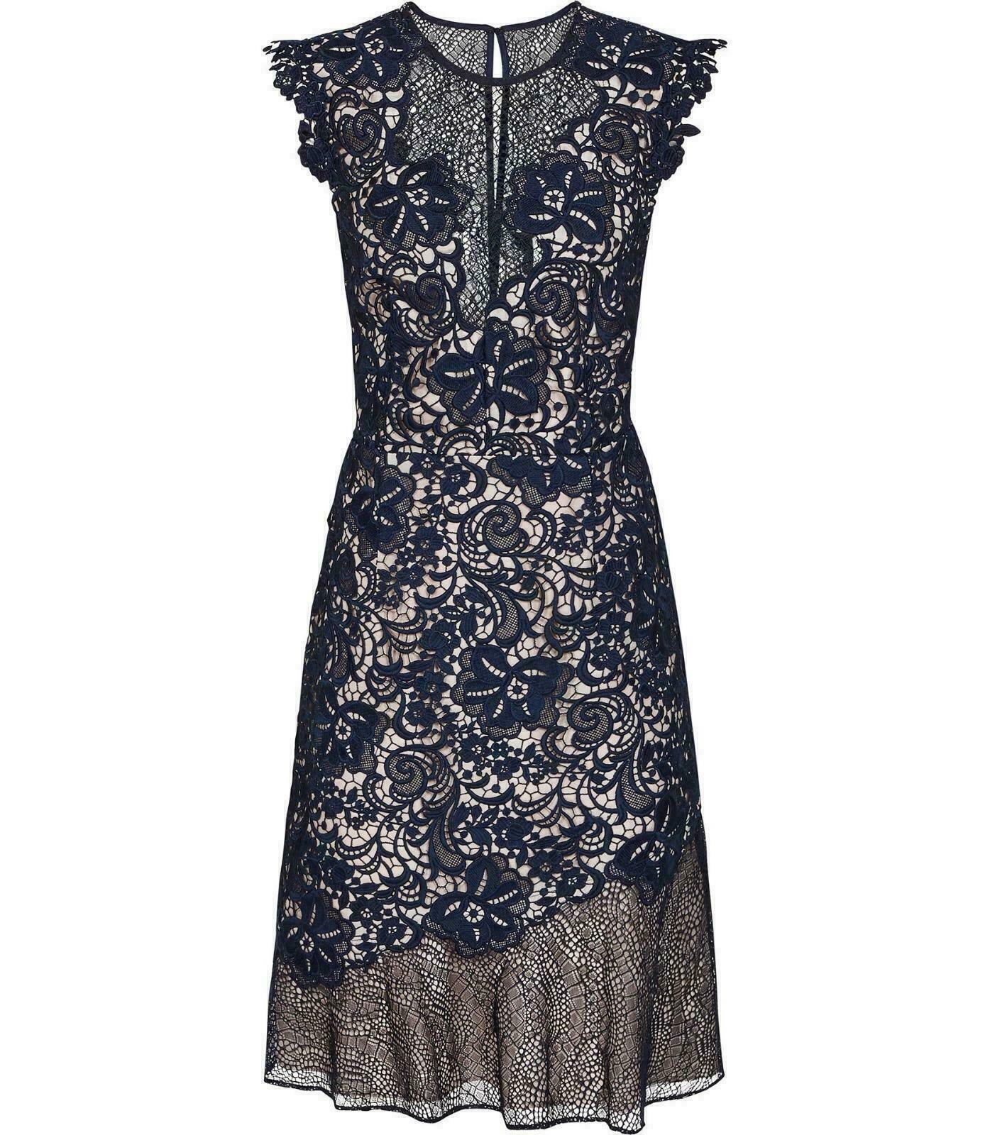 Reiss June Lace Embroidered Dress Navy bluee - Sizes to 16  rrp