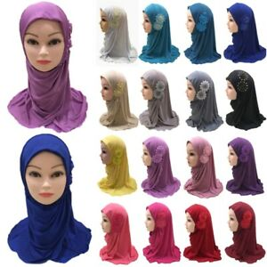 Amira Hijab Muslim Kids Girls Flowers Scarf Islamic Wrap Headwear Shawls Turban