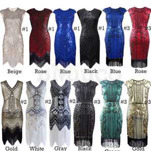 1920s Flapper Dress Gatsby Prom Gown Sequins Evening Roaring 20s