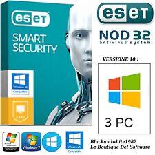 ESET NOD32 Smart Security v.10  Per  3 PC / 1 Anno. Licenza Originale