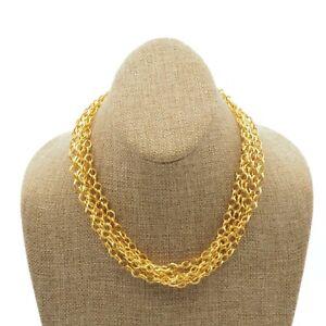 Vintage-Estate-Gold-Tone-5-Strand-Ornate-Toggle-Clasp-Fashion-Necklace-17-Inch