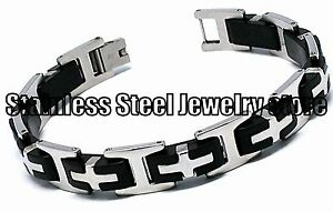 Mens-Stainless-Steel-Bracelet-Rubber-Black-Silver-Wrist-Bangles-Heavy-Cross-SR73