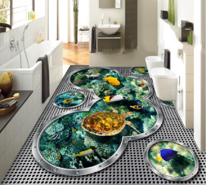 3D grau Pond Turtle 79 Floor WallPaper Murals Wall Print Decal AJ WALLPAPER US