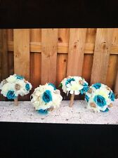 Lot Of 4 Pcs Rustic Shabby Burlap Toss. Bridesmaids Wedding Bouquets Turquoise