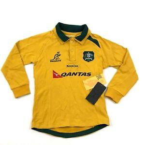 e25d1b99626 NEW Wallabies KooGa RUGBY Gear Polo Yellow Gold Long sleeve Cotton ...