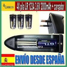 4X PILA RECARGABLE 16340 CR123A LR123A 2000mAh Li-ion 3,6V 3,7V Litio + cargador