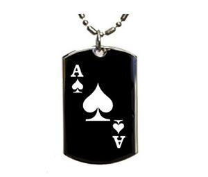 Mens Black Dog Tag Necklace