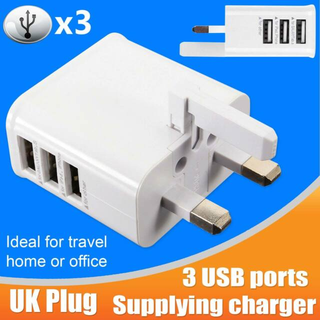 3 Ports Multi USB Charger UK Adapter Travel Wall AC Power Supply Samsung iPhone