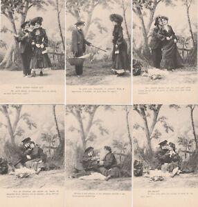 Cartes-postales-anciennes-CPA-Serie-de-6-N-1552-Annees-1900-Nous-avons-vingt-ans
