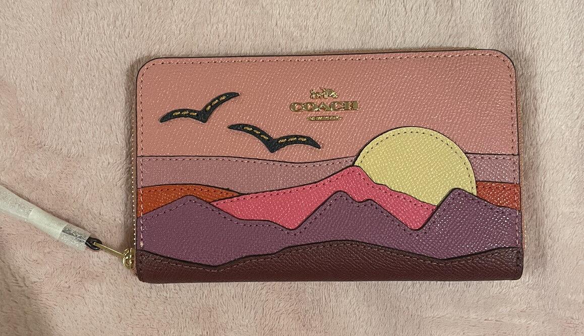 Coach Medium ID Zip Wallet With Mountain Postcard, C3641, Im/Light Blush Multi